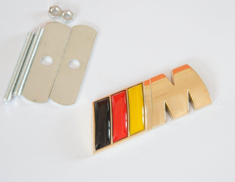 BMW ///M-tech 24K Gold Plated Metal 3D Grill Badge / Emblem German Flag