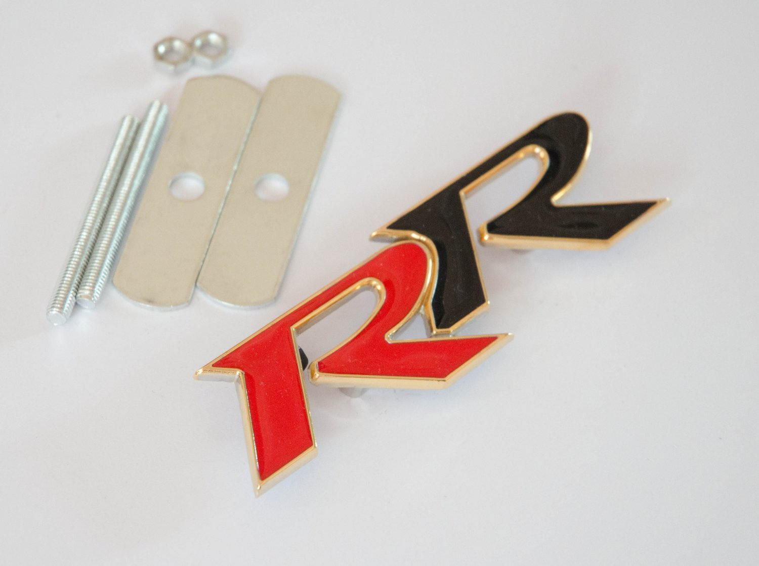 HONDA RR 24K Gold Plated Metal 3D Grill Badge Emblem RED / BLACK