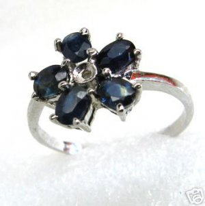 100% Natural Blue sapphire ring size 7 & .925 sterling silver