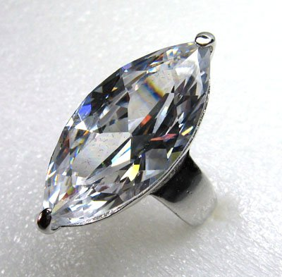 HUGE ZIRCON(32X16) RING SIZE 8&10KT WHITE GOLD PLATED