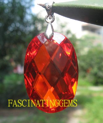 50.00CT CHARMING STUNNING BLOOD RED OVAL ZIRCON PENDANT