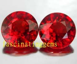 12.95CT PAIR STUNNING ROUND RED ZIRCON