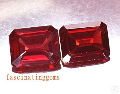 7.95CT PAIR BEAUTIFUL RICH RED RECTANGLE ZIRCON