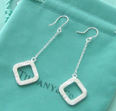 Amazing Sterling new style long chain 1837 long square dangling earrings