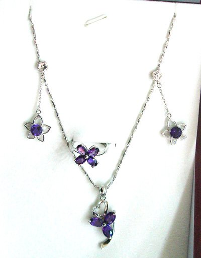 100% natural amethyst and sterling silver sets