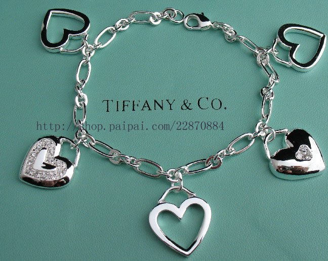 Beautiful 925 Sterling silver five heart  bracelet,new arrival!