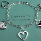 Beautiful 925 Sterling silver five heart  bracelet,new arrival!