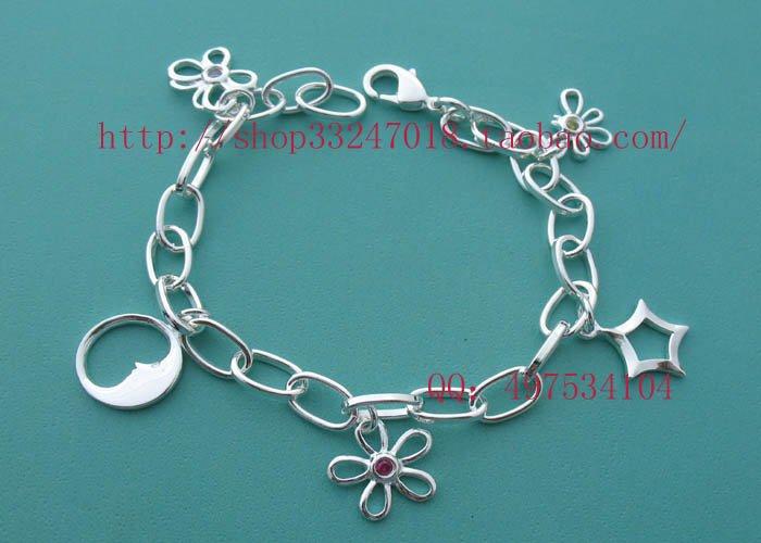 Beautiful 925 Sterling silver  butterfly flower bracelet,new arrival!