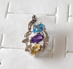 100% natural multi-coloured gemstone and sterling silver pendant