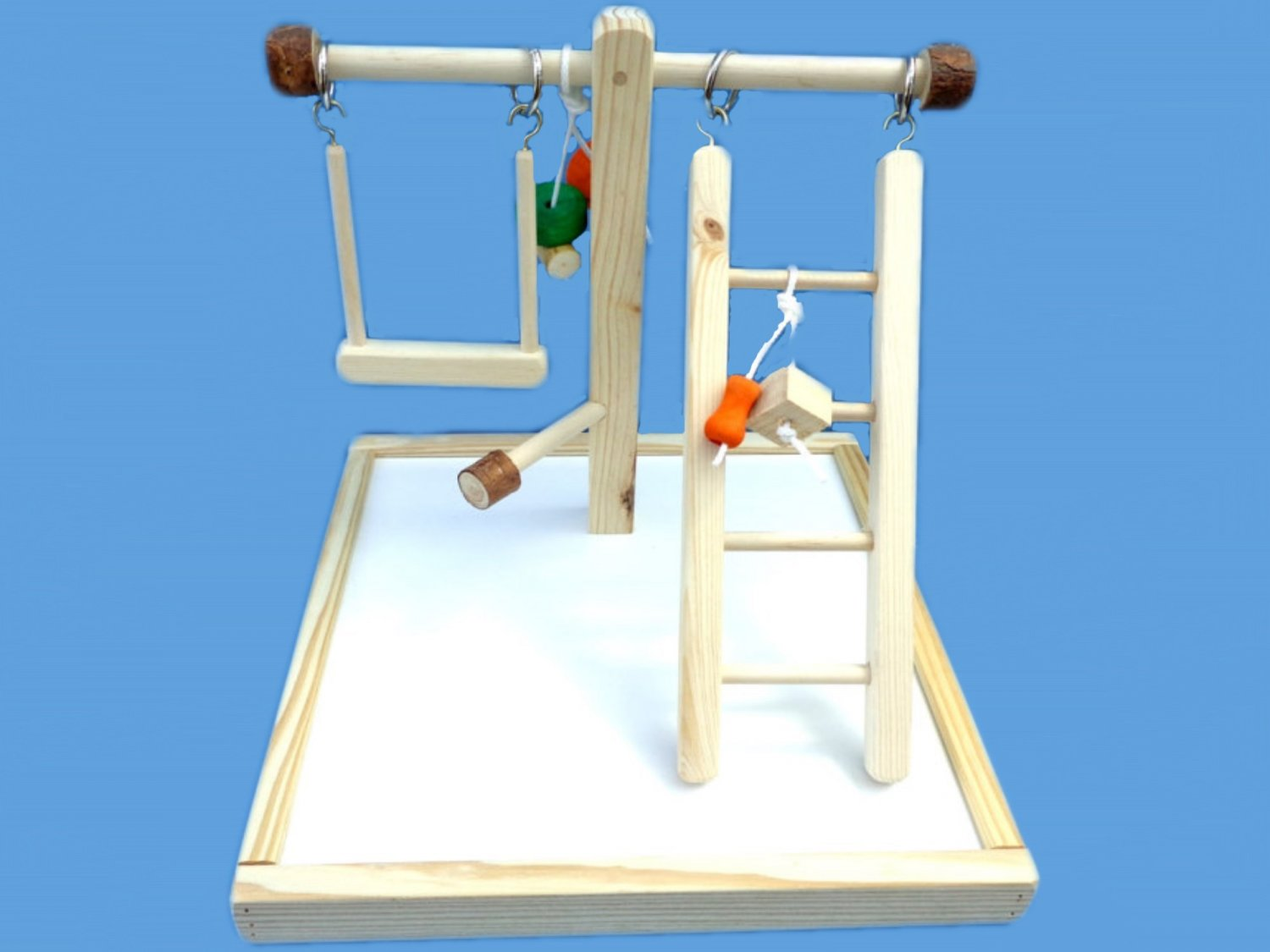 Wood dowel play gym for small birds with swing & ladder