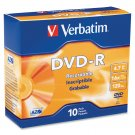 Verbatim 95099 AZO DVD-R 4.7GB 16X with Branded Surface - 10pk Slim Case 2 Hour