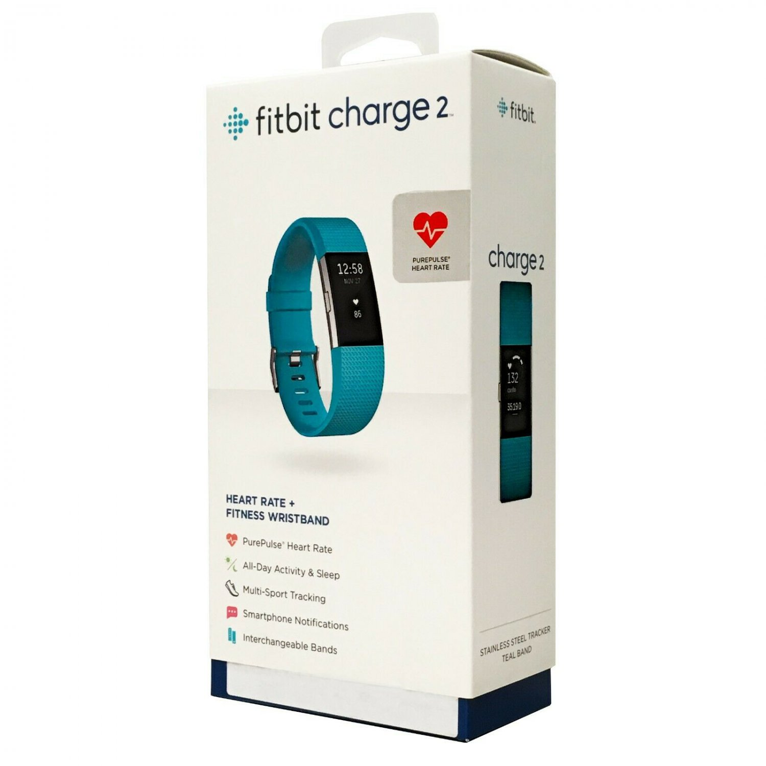 Fitbit Charge 2 Heart Rate Fitness Band Touchscreen Teal Small