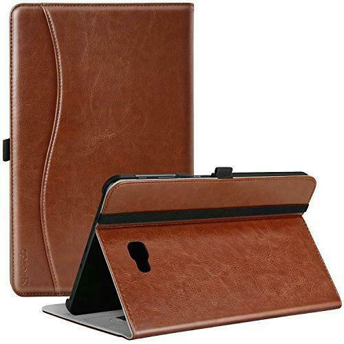 """Ztotop 10.1"""" Samsung Galaxy Tab 1 Case Integrated Stand & Pocket - Brown Leather"""