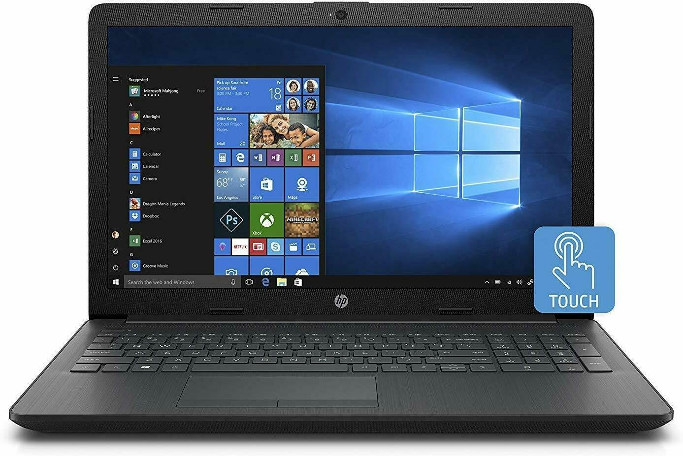 """HP 15.6"""" Touch Screen Laptop Quad Core up to 2.5Ghz 500GB HDD 4GB Ram Windows 10"""
