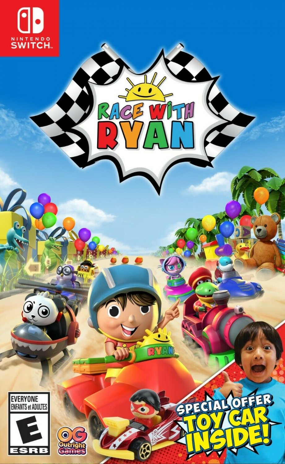 NEW Race With Ryan game with Exclusive FREE Red Titan Car Toy (Nintendo Switch)