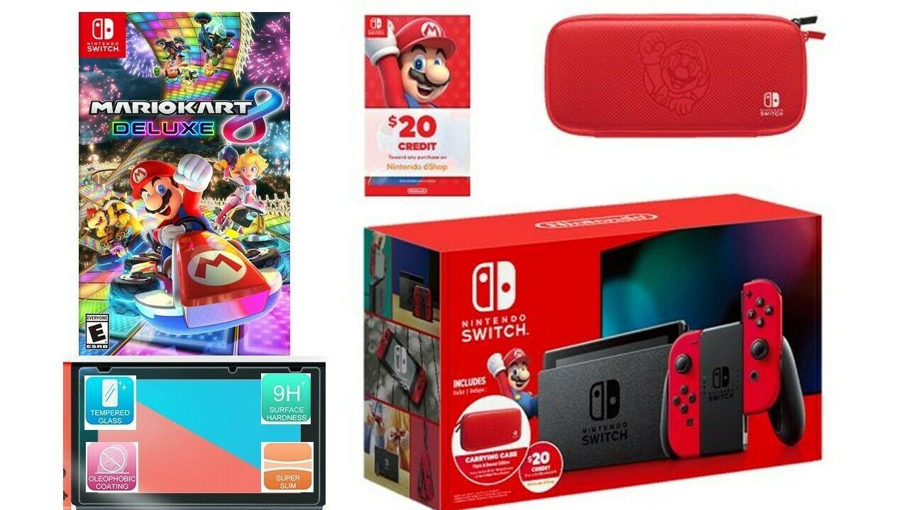 NEW Nintendo Switch Red Mario Kart 8 Bundle + Case + $20 eshop + Screen Protect