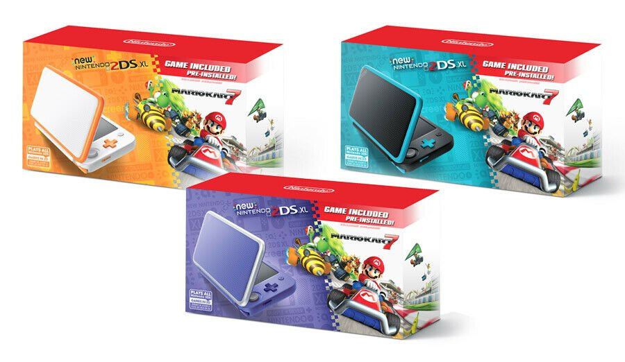 NEW Nintendo 2DS XL + Mario Kart 7 FULL Game + 4GB + 6 AR Cards + Charger