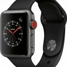 NEW Apple Watch Series 3 38mm GPS+Cellular Space Gray Case with Black Sport Band