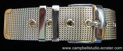 "Mesh Gold Tone Sparkling Belt Bracelet 7"" or less, Mint Condition"