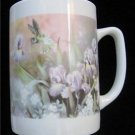 Hummingbird Iris Flower Ceramic Coffee Drink Mug 10oz Near Mint Condition