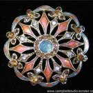 Monet Signed Art Deco Rhinestone & Enamel Brooch MINT