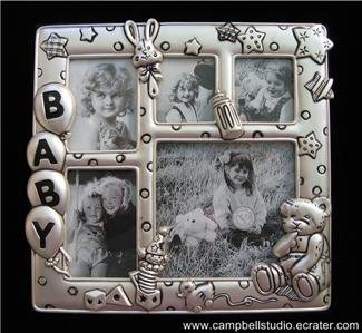 Frosted Pewter Colored Baby Multi-Photo Pic Frame Near Mint