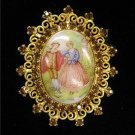 Porcelain Cameo Filagree Gold Tone Amber Crystals Pin/Brooch