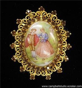Porcelain Cameo Filagree Gold Tone Amber Crystals Pin/Brooch