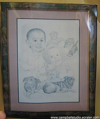 Custom Drawn BW Portrait 2 Person/Border/Framed 18x24