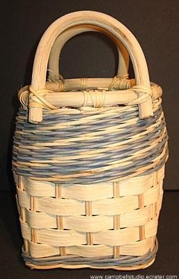 Basket - Slatted/Woven Tan/Blue MINT