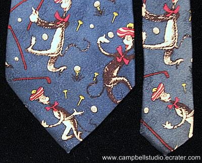 Dr. Seuss Cat In The Hat Golf Necktie Copyright 1996 GU