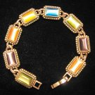 Cat's Eye Multi-Color Antique Brass Style Metal Bracelet Signed