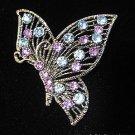 Butterly Blue/Lavendar Crystal Pin/Brooch Antique SilverTone