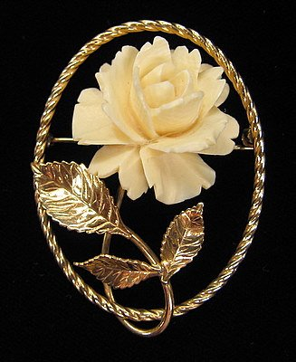 Carved Rose Pre-Ban Ivory Gold Fill Setting Pin/Brooch Near Mint