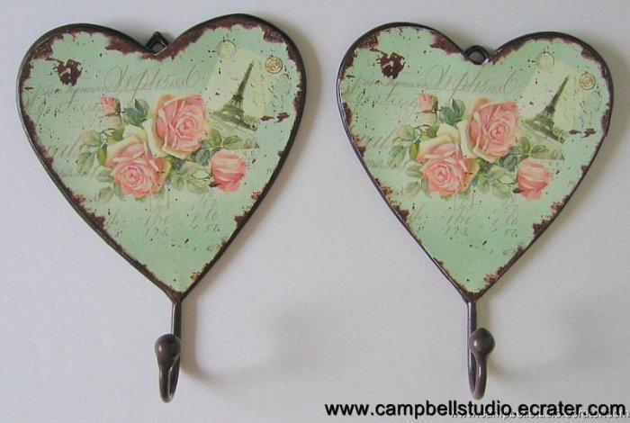Antique Style Heart & Rose French Design Wall Hook Pair Iron & Laminated Paper NEW