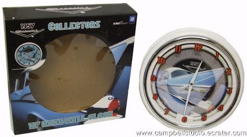 1957 Chevrolet BelAir Fin & Chrome Neon Wall Clock NEW