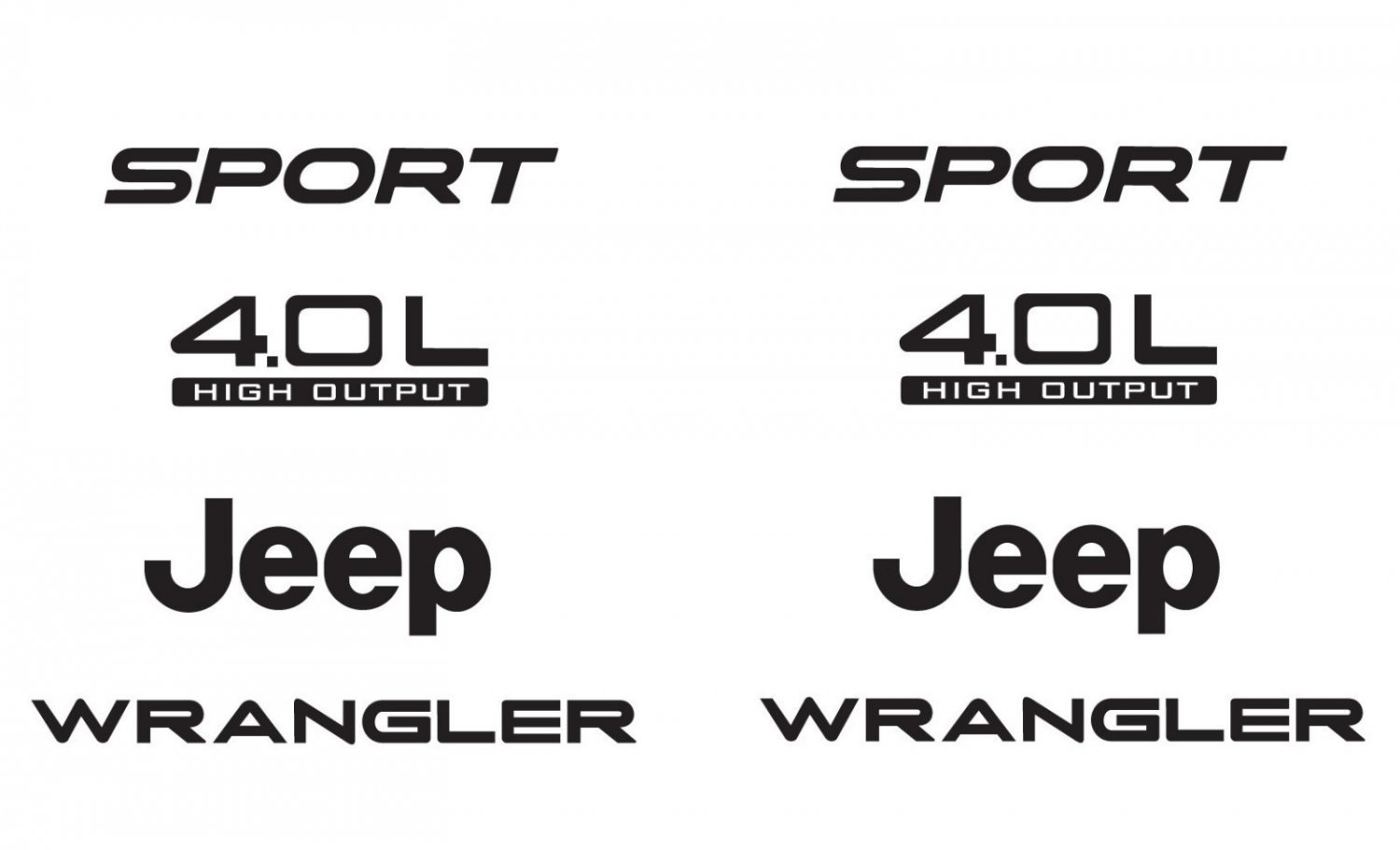 Jeep Sport 03-06 Vinyl Refresh Kit TJ 4.0L Stickers Emblem