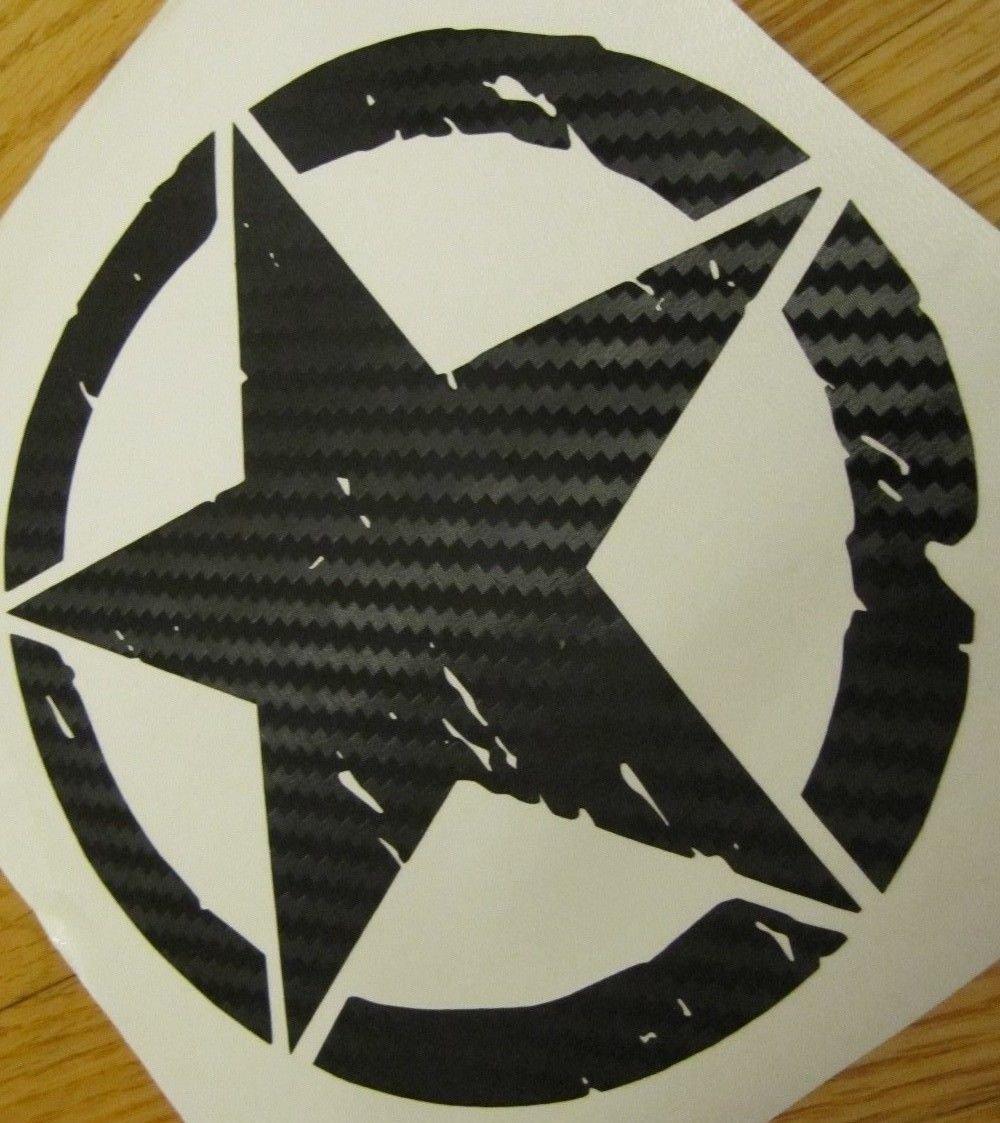 Carbon Fiber Oscar Mike Distressed Star Freedom Edition Vinyl Car Decal