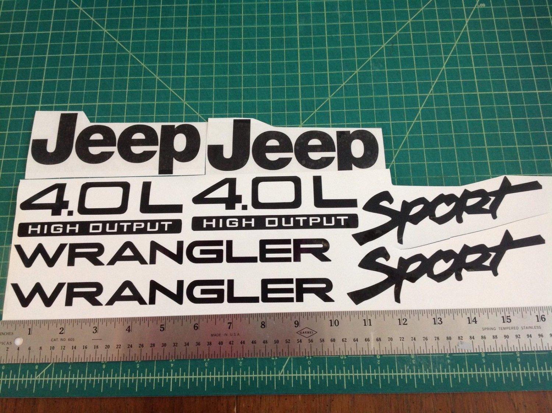 Jeep Wrangler Sport Vinyl Stickers Decals kit set of YJ TJ 4.0L 4.0 L-Black