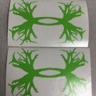"2 Under Armour/Hunt Antlers vinyl decal/sticker 5"" Lime Green Window Car Laptop"