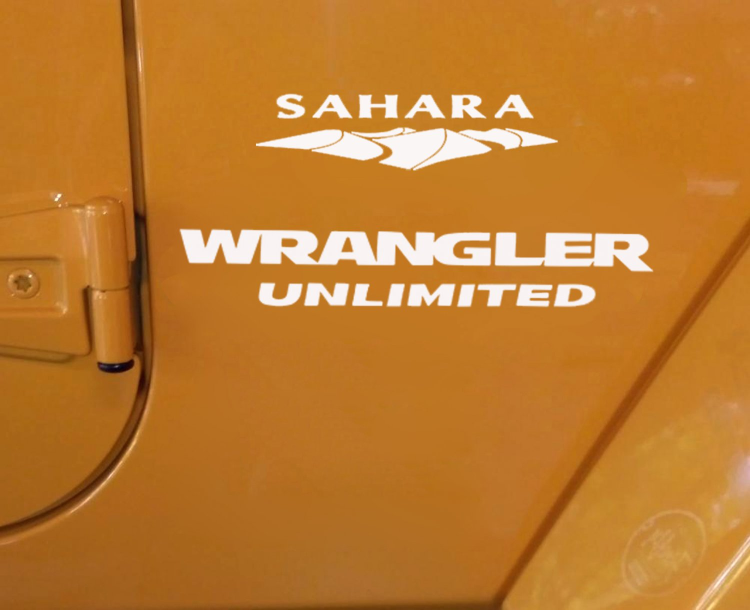 Jeep Wrangler Unlimited Sahara Replacement Stock Logo Full Set Decals- White