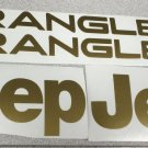 Set of Jeep Wrangler Replacement Vinyl Stickers Decals YJ TJ gold Set