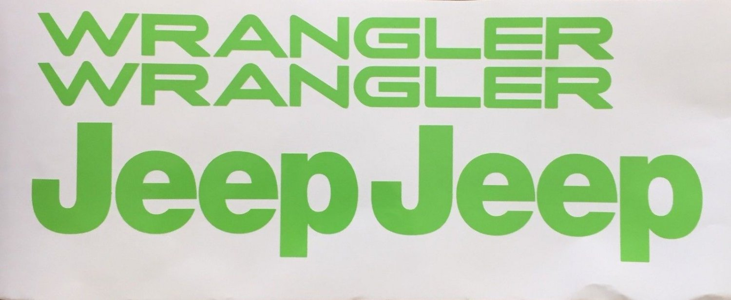 Set of Jeep Wrangler Replacement Vinyl Stickers Decals YJ TJ L.Green Set