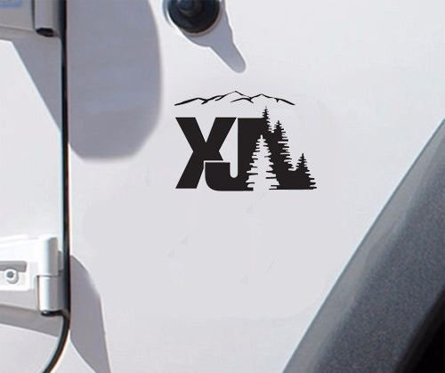 Set of jeep cherokee xj mountain replacement stock logo full set decals black