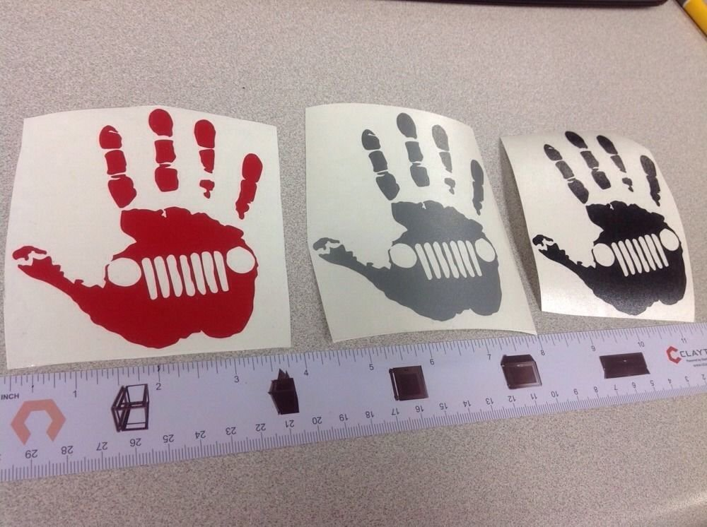 """Lot Of 3 Jeep Hand Decal/sticker 1 Silver Black Red 4.25""""x3.5"""" Wave Wrangler Car"""