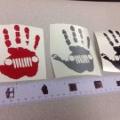 "Lot Of 3 Jeep Hand Decal/sticker 1 Silver Black Red 4.25""x3.5"" Wave Wrangler Car"