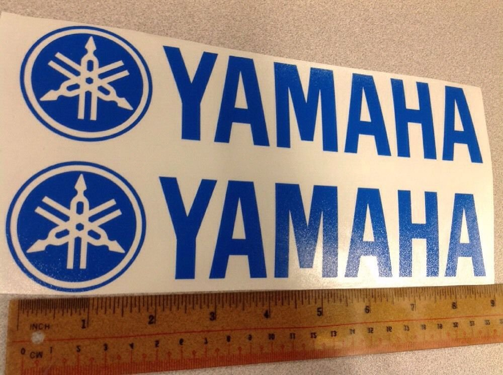 "(2) Decals Stickers 9"" Vinyl For Yamaha Motorcycle Color: Blue"