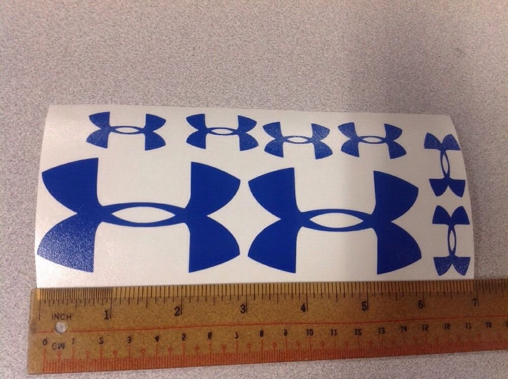 "Under Armour Decal Sticker Vinyl Mix Sz: 3"" 1.25"" Logo For Surfboard Window Blue"
