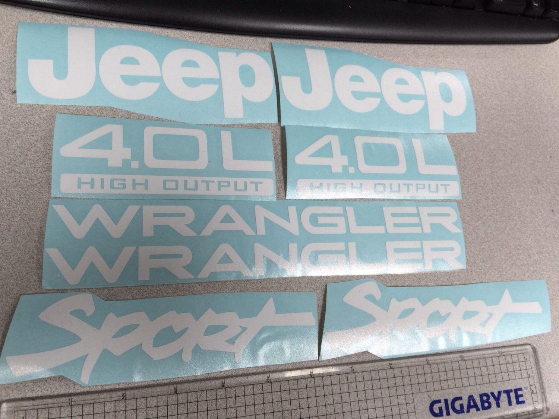 Set of Jeep Wrangler Sport Refresh Vinyl Stickers Decals YJ TJ 4.0L 4.0 L white