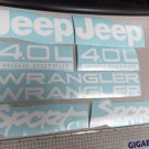 Set of Jeep Wrangler Sport Refresh Vinyl Stickers Decals YJ TJ 4.0L 4.0 L white